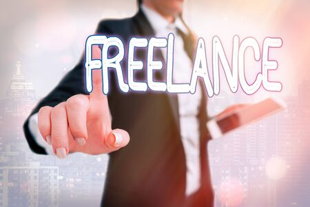Writing note showing Freelance. Business concept for working at different firms rather than being permanently Touch screen digital marking important details in business Reklamní fotografie