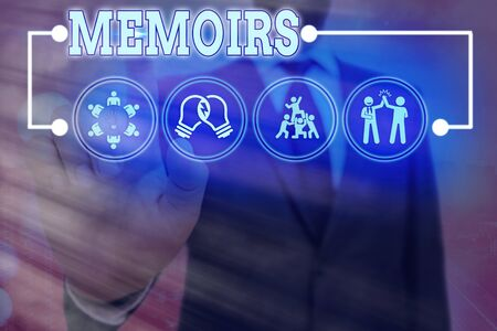 Handwriting text Memoirs. Conceptual photo collection of memories that individual writes about moments or event Information digital technology network connection infographic elements icon