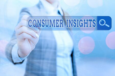 Writing note showing Consumer Insights. Business concept for behavior that aims to increase effectiveness of a product Web search digital information futuristic technology network connection