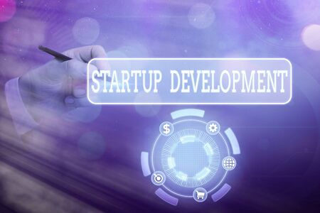 Text sign showing Startup Development. Business photo text developing idea which signifying birth of the business