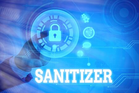 Word writing text Sanitizer. Business photo showcasing liquid or gel generally used to decrease infectious agents Graphics padlock for web data information security application system