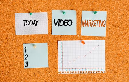 Text sign showing Video Marketing. Business photo text using videos to promote and market your product or service Corkboard color size paper pin thumbtack tack sheet billboard notice board