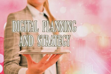 Conceptual hand writing showing Digital Planning And Strategy. Concept meaning business analysis in online marketing channels Touch screen digital marking important details in business
