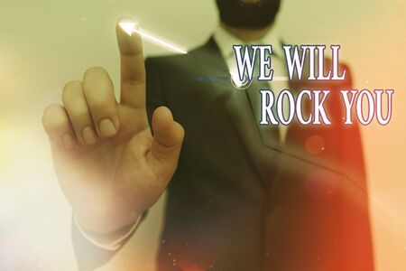 Text sign showing We Will Rock You. Business photo text to be going out and facing the world and all that is in it Ascending growth trends movement performance financial chart status report
