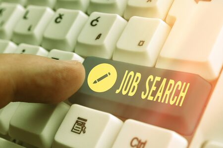 Writing note showing Job Search. Business concept for an act of sourcing for job openings and apply for a position White pc keyboard with empty note paper above white key copy space Standard-Bild