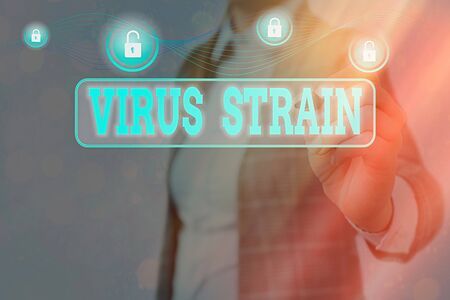 Conceptual hand writing showing Virus Strain. Concept meaning Another genetic variant derived from the original microorganism Graphics padlock for web data security application system 스톡 콘텐츠
