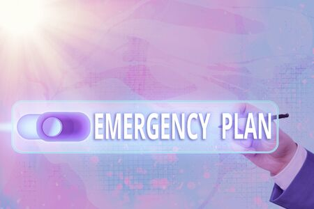 Text sign showing Emergency Plan. Business photo text instructions that outlines what workers should do in danger Graphics padlock for web data information security application system