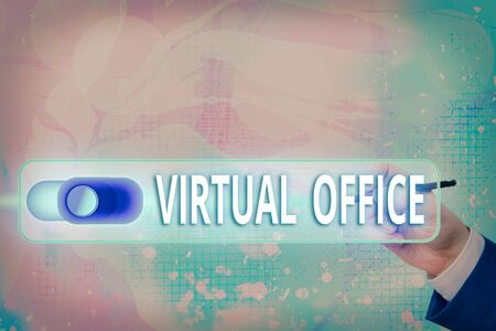 Text sign showing Virtual Office. Business photo text operational domain of any business or organization virtually Graphics padlock for web data information security application system
