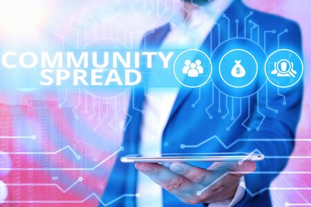 Text sign showing Community Spread. Business photo showcasing dissemination of a highlycontagious disease within the local area System administrator control, gear configuration settings tools concept
