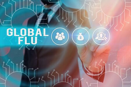 Word writing text Global Flu. Business photo showcasing Common communicable illness spreading over the worldwide fastly System administrator control, gear configuration settings tools concept