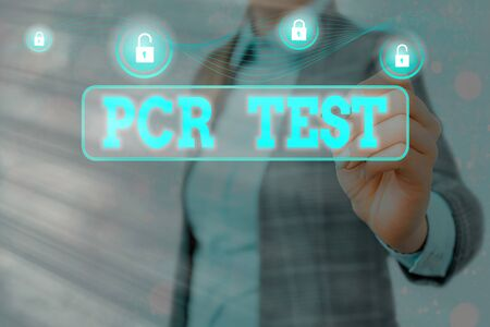 Conceptual hand writing showing Pcr Test. Concept meaning qualitative detection of viral genome within the short seqeunce of DNA Graphics padlock for web data security application system