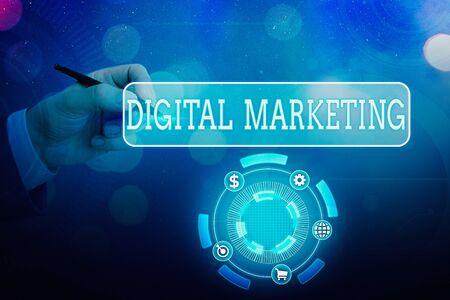 Text sign showing Digital Marketing. Business photo text promotion of products or brands using electronic devices