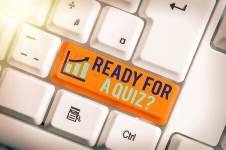 Text sign showing Ready For A Quiz Question. Business photo showcasing Taking educational assessment Preparing an exam