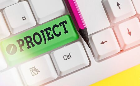 Writing note showing Project. Business concept for collaborative enterprise carefully plan design to achieve success Zdjęcie Seryjne