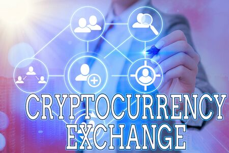 Writing note showing Cryptocurrency Exchange. Business concept for allow client to trade digital money for other assets Foto de archivo
