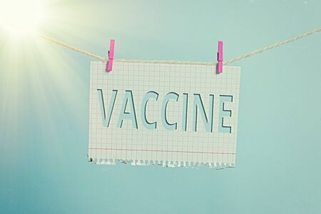 Text sign showing Vaccine. Business photo text preparation of killed microorganisms or living attenuated organisms Clothesline clothespin rectangle shaped paper reminder white wood desk