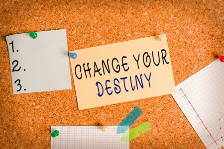Word writing text Change Your Destiny. Business photo showcasing choosing the right actions to manipulate predetermined events Corkboard color size paper pin thumbtack tack sheet billboard notice board 写真素材