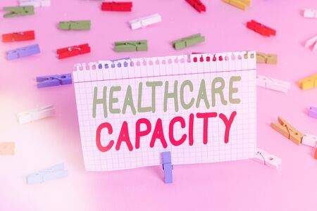 Handwriting text Healthcare Capacity. Conceptual photo maximum amount of patients provided with the right medical service Colored clothespin papers empty reminder pink floor background office pin