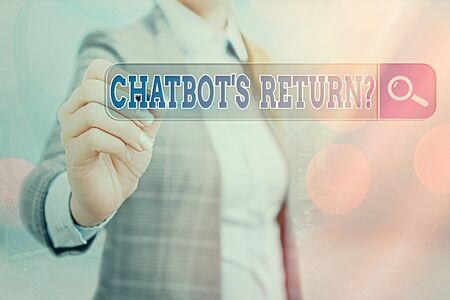Writing note showing Chatbot s is Return Question. Business concept for program that communicate use text interface and AI Web search digital information futuristic technology network connection