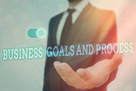 Text sign showing Business Goals And Process. Business photo text company planning and strategies to accomplish