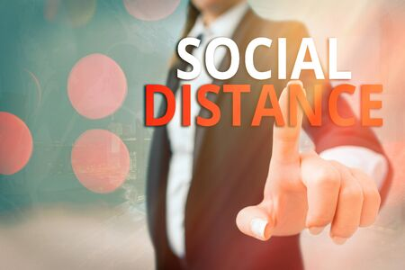 Writing note showing Social Distance. Business concept for maintaining a high interval physical distance for public health safety Touch screen digital marking important details in business Stock Photo