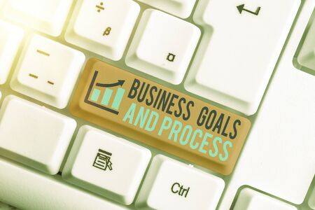 Text sign showing Business Goals And Process. Business photo showcasing company planning and strategies to accomplish Zdjęcie Seryjne