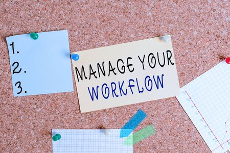 Word writing text Manage Your Workflow. Business photo showcasing Workforce organization and management to boost office productivity Corkboard color size paper pin thumbtack tack sheet billboard notice board 版權商用圖片