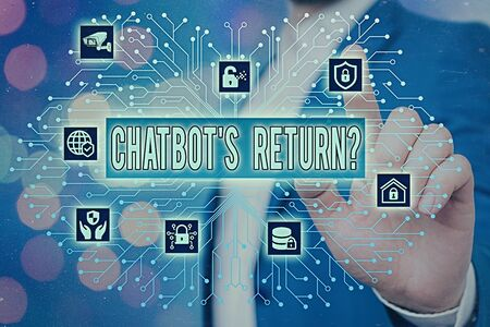 Text sign showing Chatbot s is Return Question. Business photo showcasing program that communicate use text interface and AI System administrator control, gear configuration settings tools concept