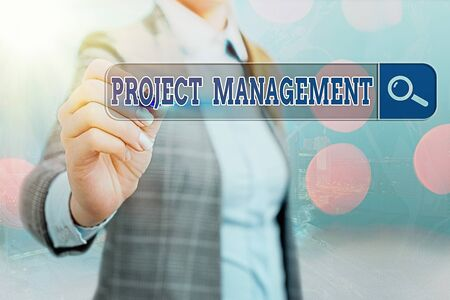 Writing note showing Project Management. Business concept for practice of the work of a team to achieve specific goals Web search digital information futuristic technology network connection
