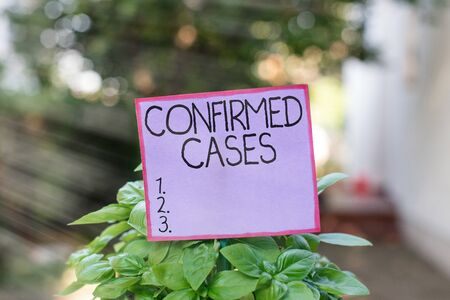 Conceptual hand writing showing Confirmed Cases. Concept meaning set of circumstances or conditions requiring action Plain paper attached to stick and placed in the grassy land