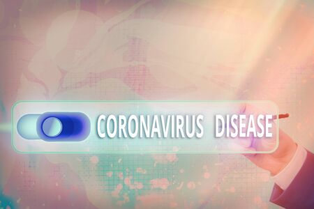 Text sign showing Coronavirus Disease. Business photo text defined as illness caused by a novel virus SARSCoV2 Graphics padlock for web data information security application system