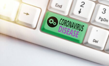 Writing note showing Coronavirus Disease. Business concept for defined as illness caused by a novel virus SARSCoV2 White pc keyboard with empty note paper above white key copy space