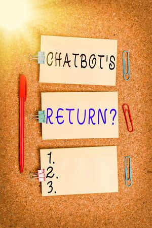 Word writing text Chatbot s is Return Question. Business photo showcasing program that communicate use text interface and AI Vertical empty sticker reminder memo square billboard corkboard desk paper