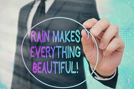 Word writing text Rain Makes Everything Beautiful. Business photo showcasing raining creates earth a wonderful place Banque d'images