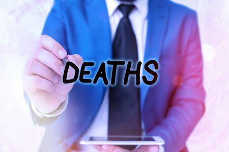 Word writing text Deaths. Business photo showcasing permanent cessation of all vital signs, instance of dying individual Touching screen digital application marking important details in business Foto de archivo