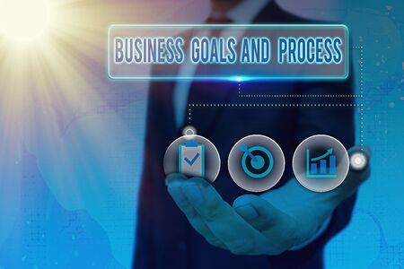 Writing note showing Business Goals And Process. Business concept for company planning and strategies to accomplish