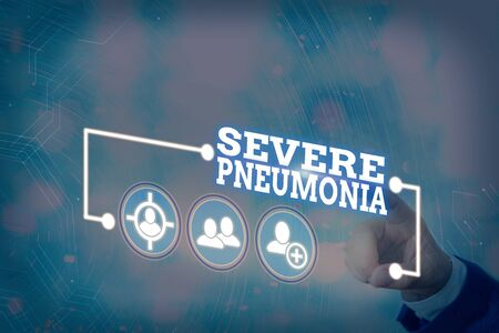 Conceptual hand writing showing Severe Pneumonia. Concept meaning acute disease that is marked by inflammation of lung tissue Information digital technology network infographic elements