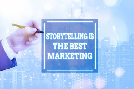 Conceptual hand writing showing Storytelling Is The Best Marketing. Concept meaning Companies effective marketing approach