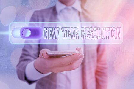 Text sign showing New Year Resolution. Business photo showcasing listing of goals and change with determination