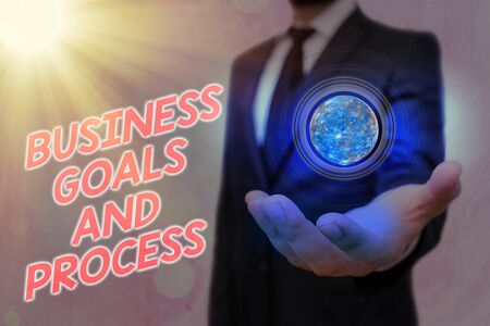 Word writing text Business Goals And Process. Business photo showcasing company planning and strategies to accomplish