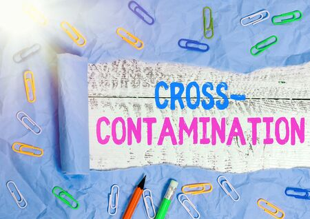 Text sign showing Cross Contamination. Business photo text Unintentional transmission of bacteria from one substance to another Rolled ripped torn cardboard placed above a wooden classic table backdrop