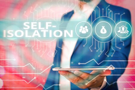 Text sign showing Self Isolation. Business photo showcasing promoting infection control by avoiding contact with the public System administrator control, gear configuration settings tools concept Standard-Bild