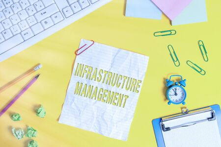 Word writing text Infrastructure Management. Business photo showcasing minimize downtime, maintain business productivity Flat lay above copy space on the white crumpled paper