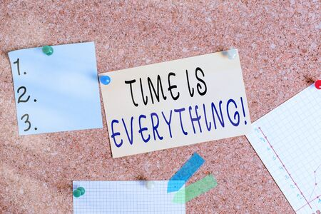 Word writing text Time Is Everything. Business photo showcasing significance of time greatly influence the outcome of an event Corkboard color size paper pin thumbtack tack sheet billboard notice board Foto de archivo