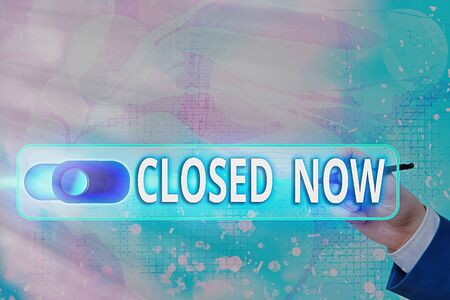 Text sign showing Closed Now. Business photo text of a business having ceased trading especially for a short period Graphics padlock for web data information security application system
