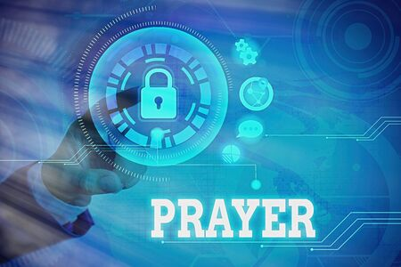 Word writing text Prayer. Business photo showcasing solemn request for help or expression of thanks addressed to God Graphics padlock for web data information security application system 版權商用圖片