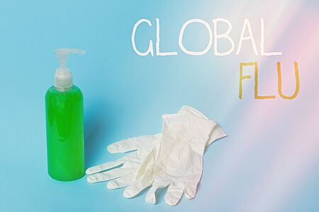Conceptual hand writing showing Global Flu. Concept meaning Common communicable illness spreading over the worldwide fastly Primary medical precautionary equipments health protection