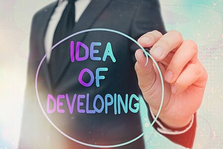 Word writing text Idea Of Developing. Business photo showcasing Startup launch innovation product, creative thinking