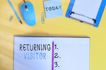 Word writing text Returning Visitor. Business photo showcasing who had visited before and come back to your site Clipboard sheet clip striped notepad mouse markers note colored background Stok Fotoğraf