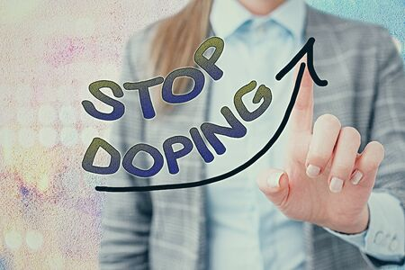 Word writing text Stop Doping. Business photo showcasing quit the use of banned athletic performanceenhancing drugs digital arrowhead curve rising upward denoting growth development concept